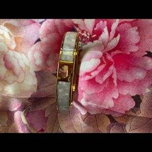 Kate Spade Gold & White Marble Hinged Cuff